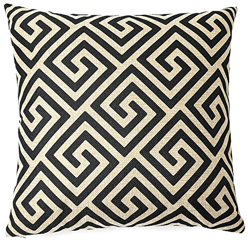 FINNEL Throw Pillow Cover 18 x 18 Inches Black & Beige Pattern Throw Pillowcase for Sofa Décor Design Cotton Linen Blend Decorative Cover Cushion