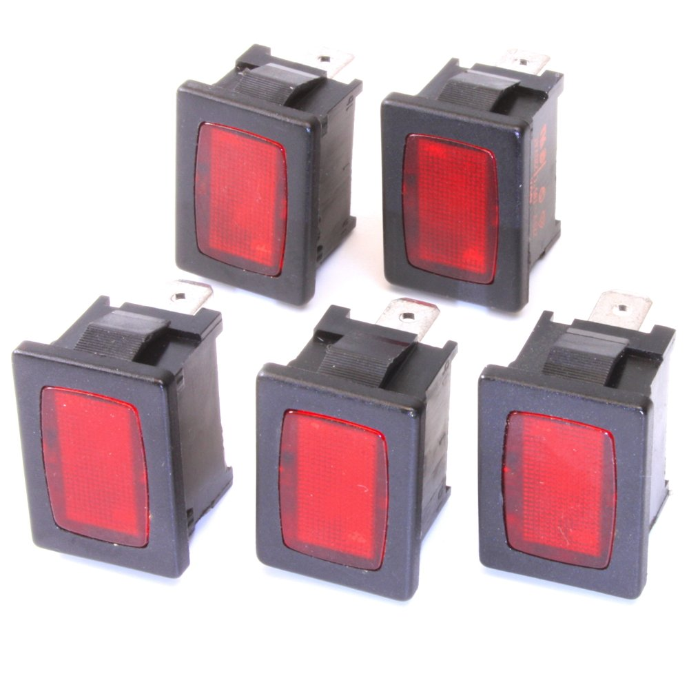 5 Stü ck Signalleuchten rot 220VAC 13x19mm Snap-In Marquardt