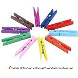 OUNONA 40pcs Wooden Clothespins Durable Clothes
