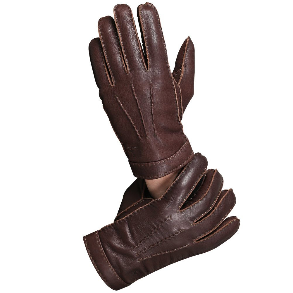 CHULRITA Mens Deerskin Leather Drivers Gloves with Wool Lining, Brown, Large