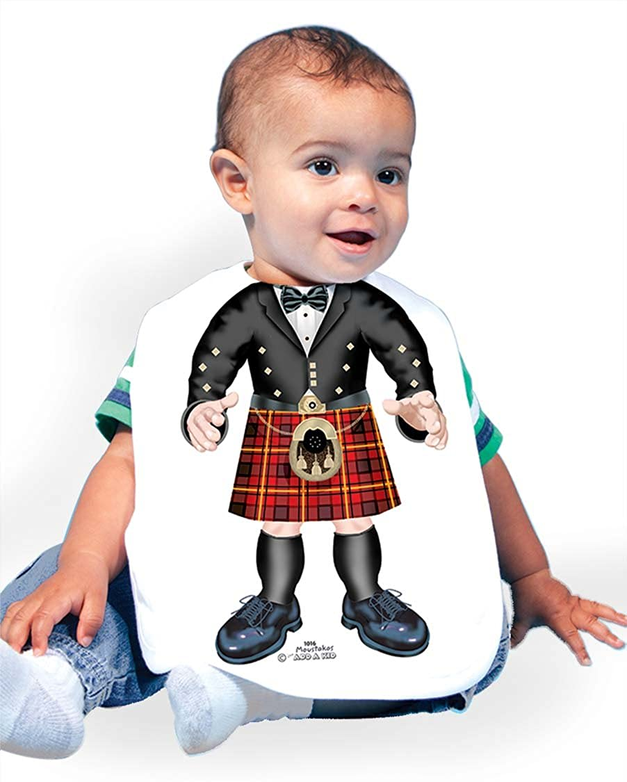 Just Add A Kid Baby Boy's Scottish Man Red 1016 Baby Bib 0-6 Months White