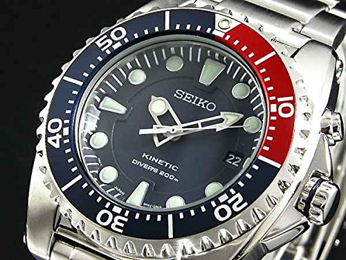 Watch  Men's Kinetic Stainless steel case, Stainless steel bracelet, Blue dial, Quartz movement, Scratch resistant mineral, Water resistant up to 20 ATM - 200 meters - 660 feet - Seiko ska369p1
