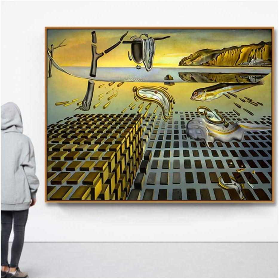 Cuadro en Lienzo Pintura Cartel Decoración para el hogar La desintegración de la persistencia de la Memoria por Salvador Dali Cuadros de Pared Decoración para el hogar-60x80cm Sin Marco