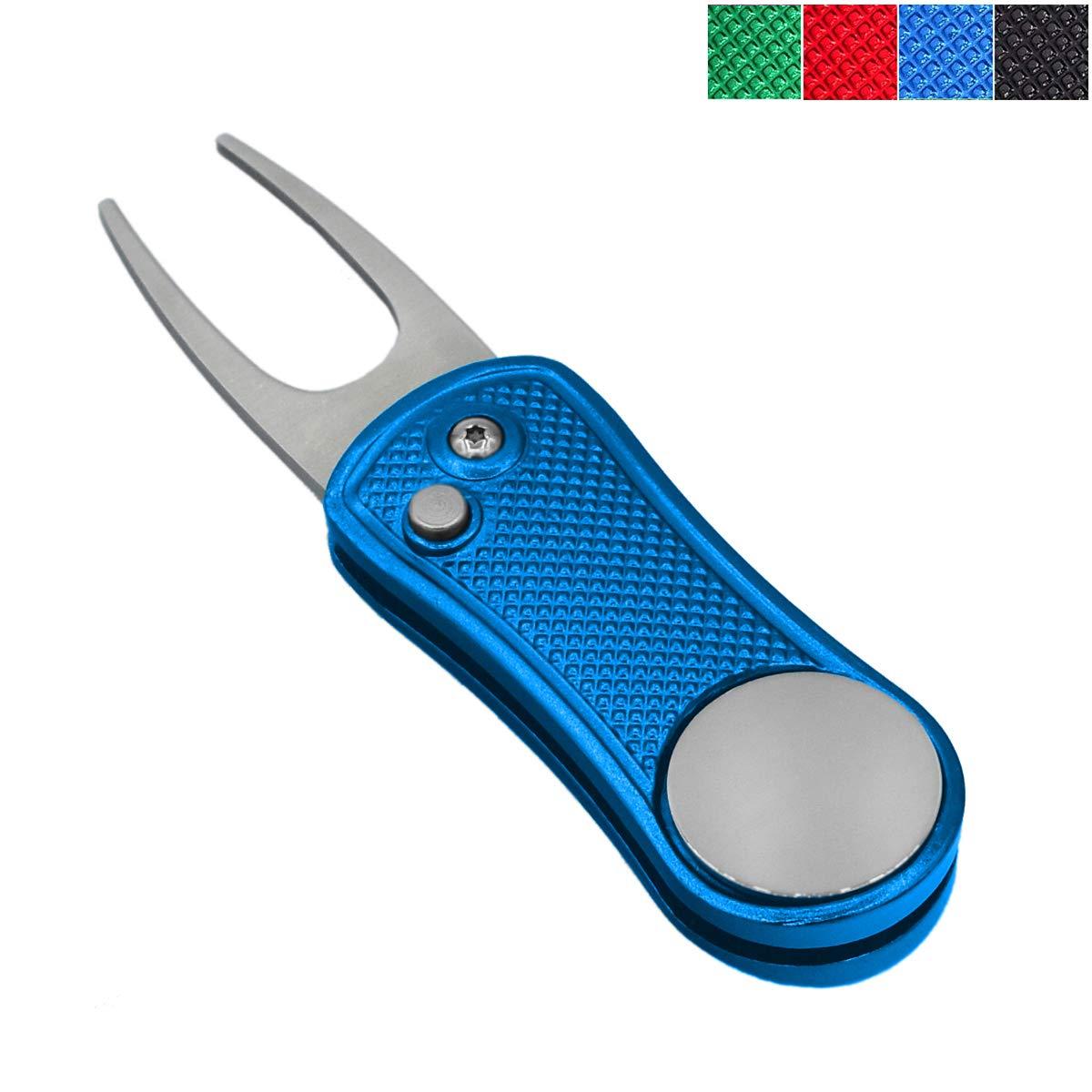 ポップアップボタンと磁気ボールマーカーピッチマーク、軽量、ポータブル、ミニディボット修復ツール、プロゴルファーのためのベストチョイス(Favour Golf Divot Repair Tool)(ブルー(103))   B07GSB7GX7