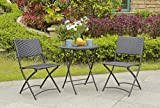 Unmatchable 3pc PE Rattan Folding Bistro Furniture Set in 2 Colours - Includes 2 Folding Chairs + 1 Coffee Table (Black)