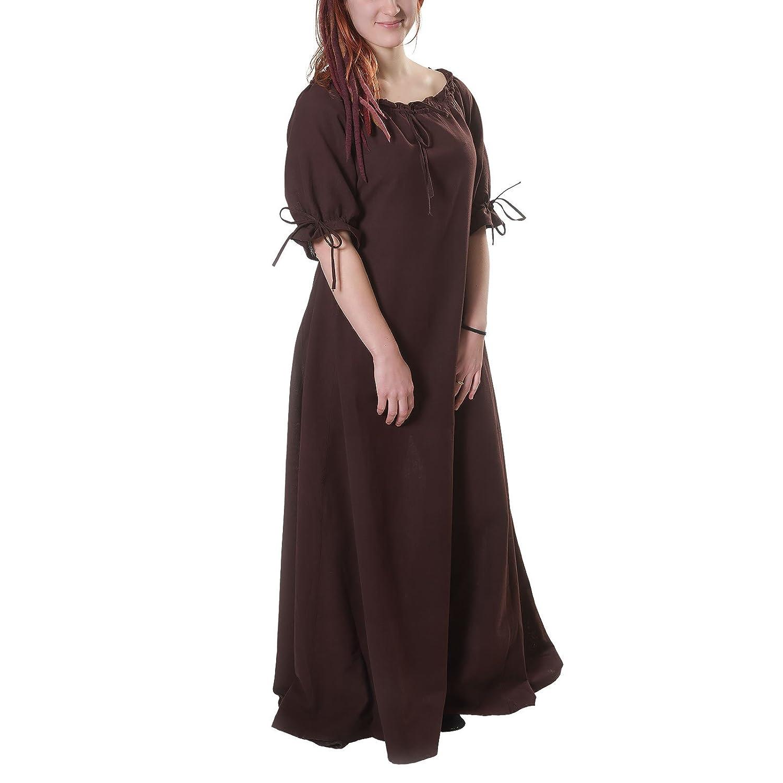Vestito a maniche corte medievale con lacci - cotone - écru