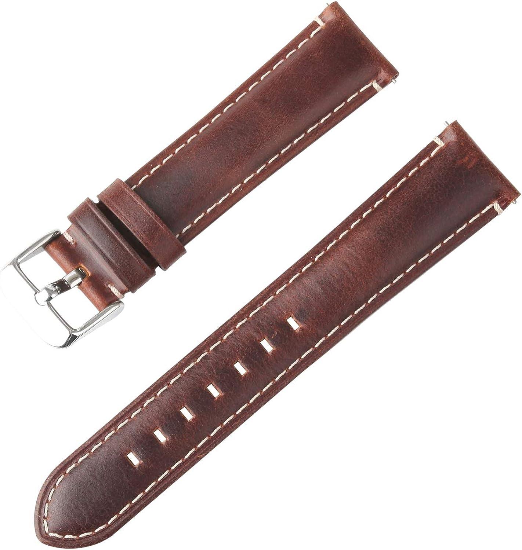 MIRDAUH Bandas de Reloj de Cuero Genuino de liberación rápida Vintage Correas de Reloj de Cuero de Caballo Loco 20 mm 22 mm