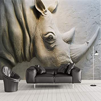 Wallpaper 3d Stereo Relief Rhino Wall Pictures Living Room Tv Sofa Bedroom Background Wall Towel Art Home Decor Amazon De Baumarkt