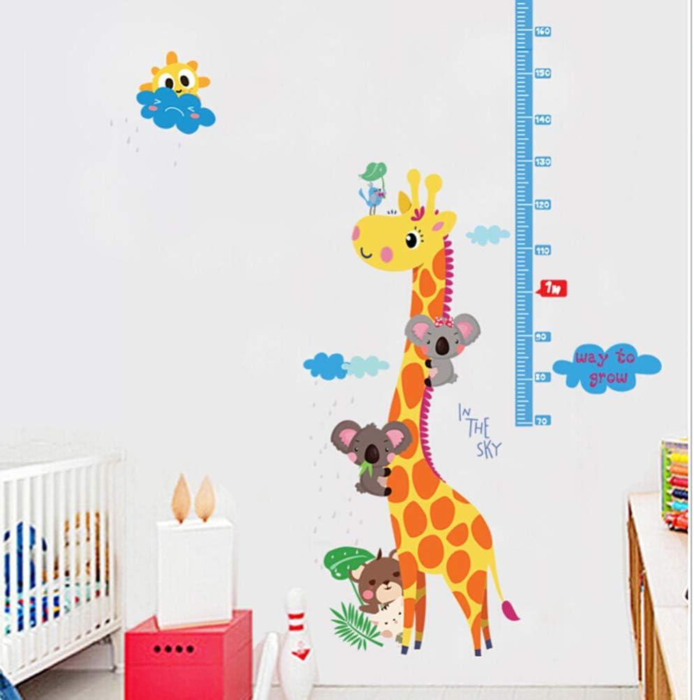 Garneck Regla de la tabla de crecimiento de la altura del beb/é para la decoraci/ón de la habitaci/ón de los ni/ños regla de la altura de la cabeza del ciervo calcoman/ías de pared de animales de vivero