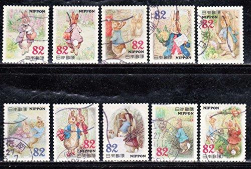 2015 Peter Rabbit Set of 10 X 82 yen Japan Postage Stamps -