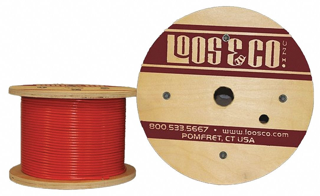 Cable, 100 ft, Red Vinyl, 1/8 in, 352 lb.