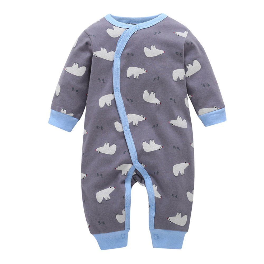 OUBAO Romper Toddler Infant Baby Boy Girl Long Sleeve Deer Romper Outfits Set Jumpsuit Bodysuit Clothes 3M, Gray