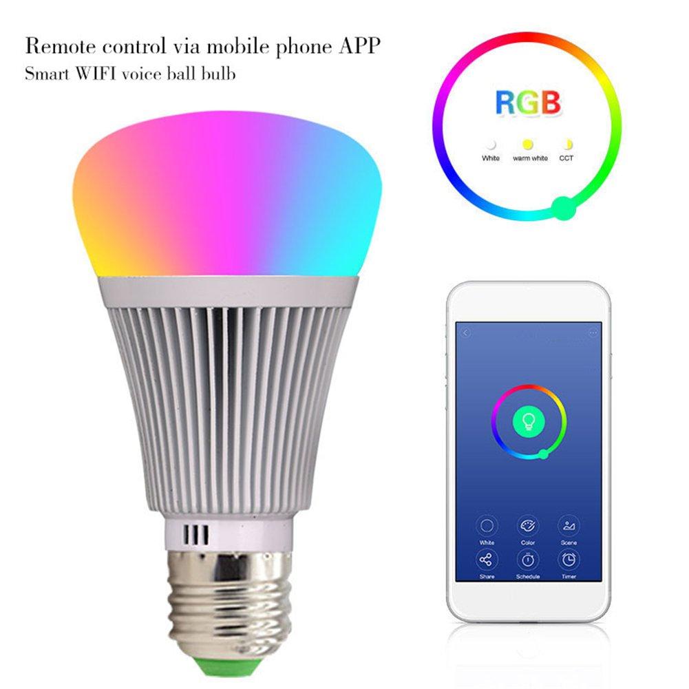 Gaeruite Smart LED Wifi lampe, Wifi Smart Birne, mehrfarbige LED-Lampen, keine Nabe erforderlich, Smartphone gesteuertes mit Alexa und Google Home E27   E26 B22 (E27, 10 pcs)