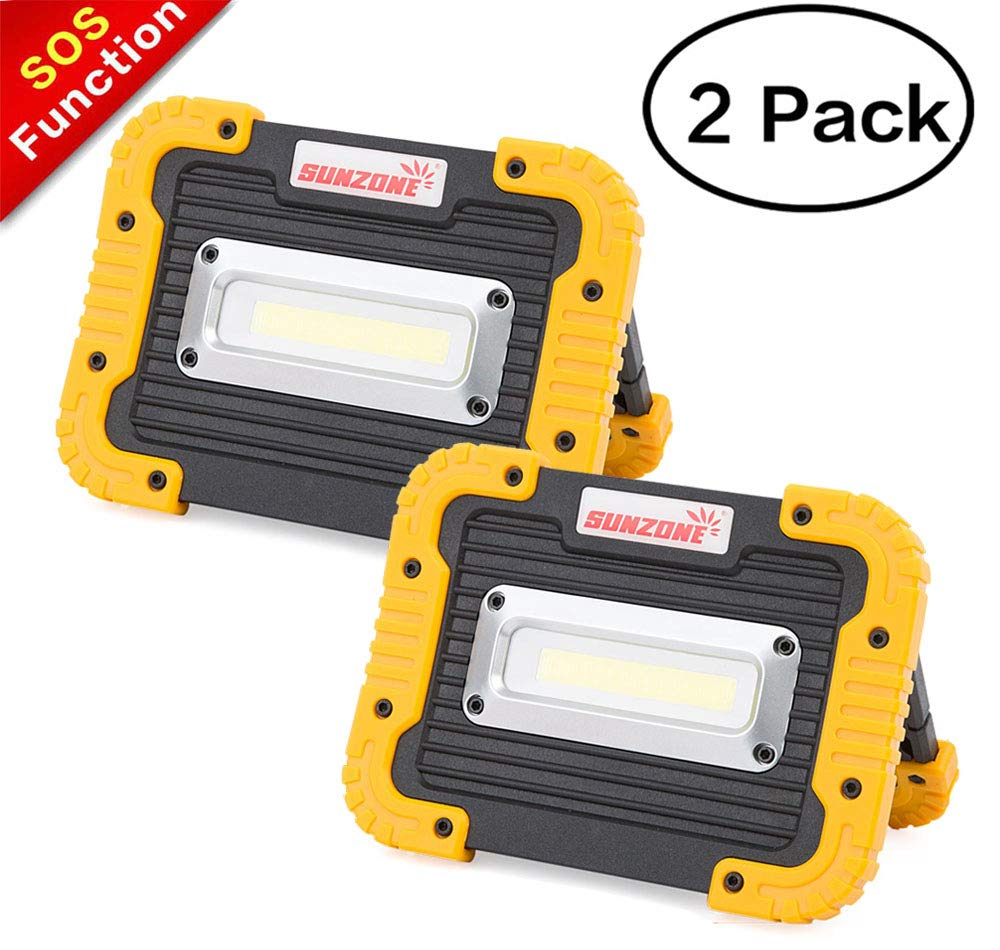 SUNZONE LED Work Light, Rechargeable Portable Waterproof LED Flood Lights for Outdoor Camping Hiking Emergency Car Repairing and Job Site Lighting (Yellow 2 Pack)