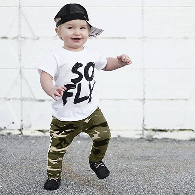 DIGOOD for 0-4 Years Old,Toddler Baby Boys Short Sleeve Hoodie+Camouflage Shorts,Children 2Pcs Outfits Summer Clothes Sets