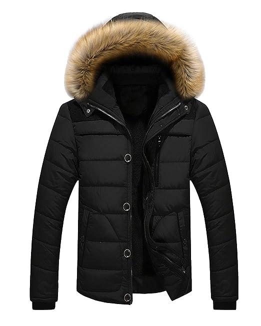 b6dd43825bf2 Men s Winter Warm Jacket Hooded Parka Outwear Coat With Fur Hood ...