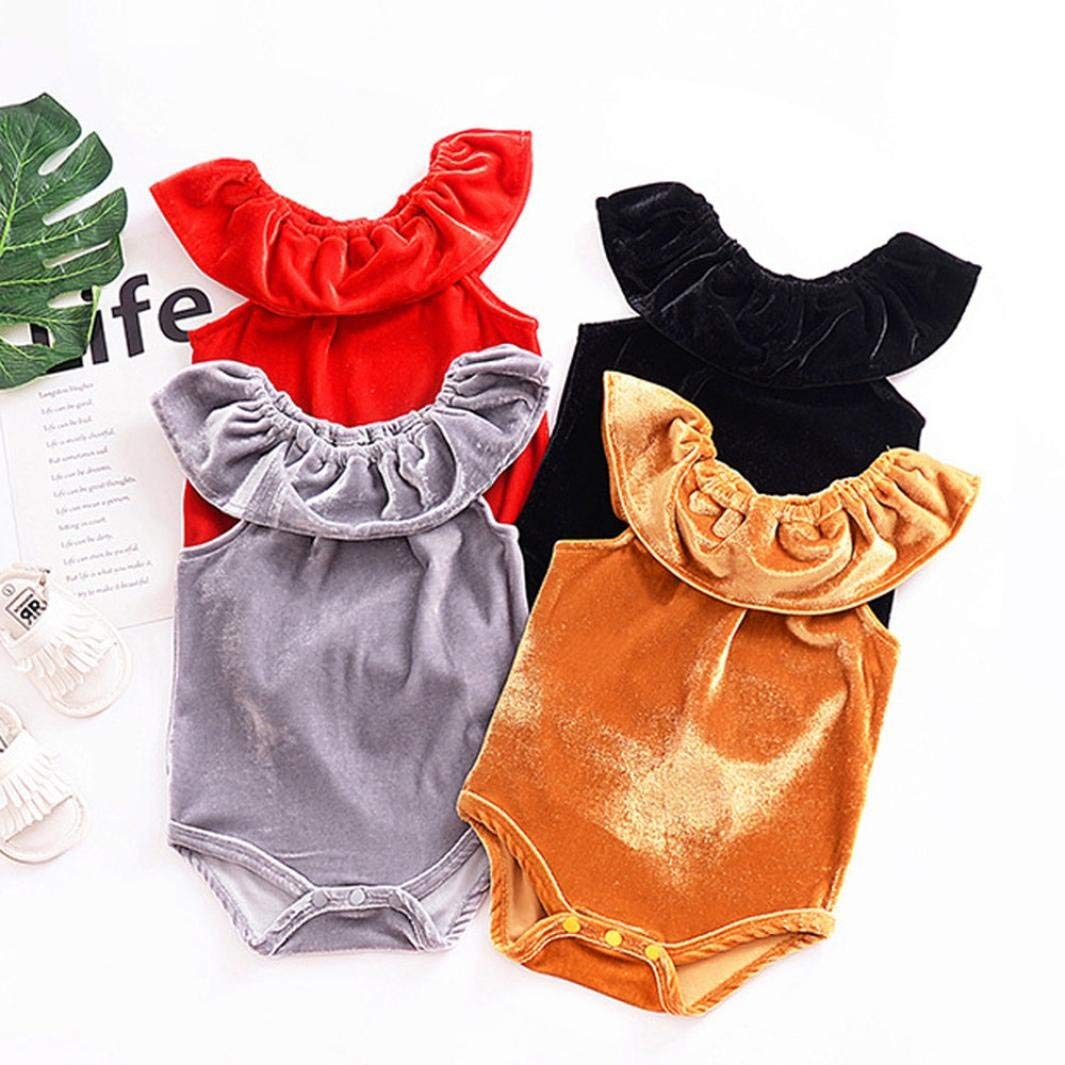 Goodtrade8 Baby Girl Boy Sleeveless Velour Solid Ruffle Lace Romper Playsuit Bodysuit Clothes