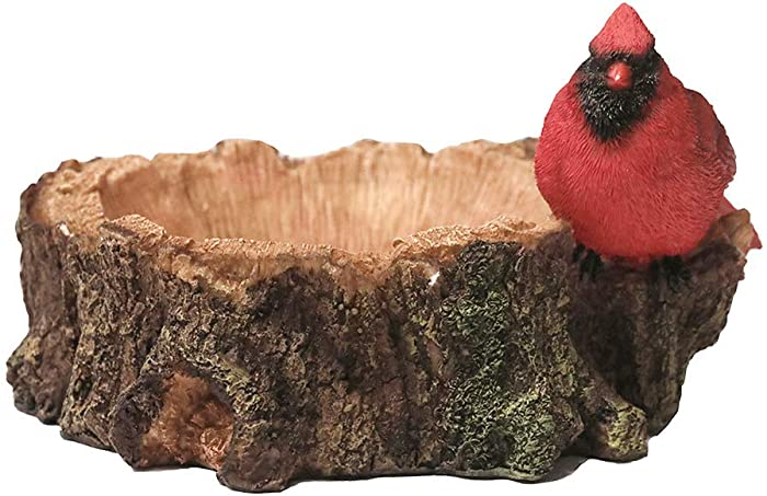Nature's Rhythm Cardinal Bird and Wooden Log Cardinals Outdoor Decor Garden Statue Cardinal Grosbeaks Feeding Tray Multifunctional Resin Yard Decor Northern Cardinal Candy Plate Indoor Decoration