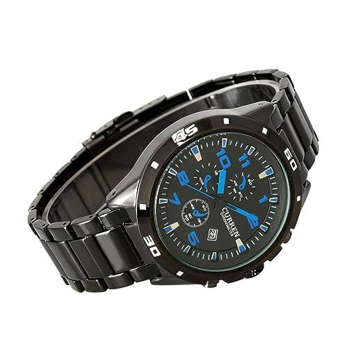 CURREN Relojes Racing hombres de la manera impermeable de los deportes del reloj de azul: Amazon.es: Relojes