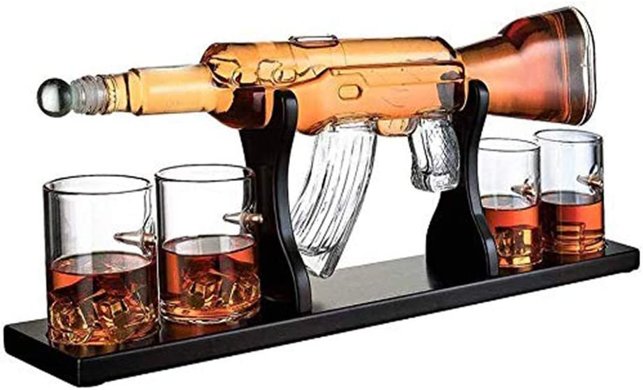 800Ml Gun Large Decanter Set Bullet Glasses, Scotch And Vodka Shot Glass Set, With 4 Bullet Whiskey Glasses And Mohogany Wooden Base, Great Gifts For Anyone