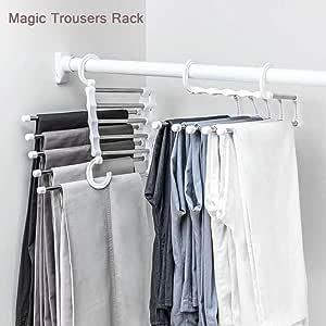 Amazon Com Percha Para Pantalones Y Pantalones Plegable Con Multiples Capas Para Almacenamiento En Casa Home Kitchen