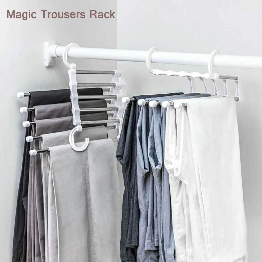 Multi Layer Foldable Pants Hanger Jeans Trousers Rack Tie Rack Home Storage