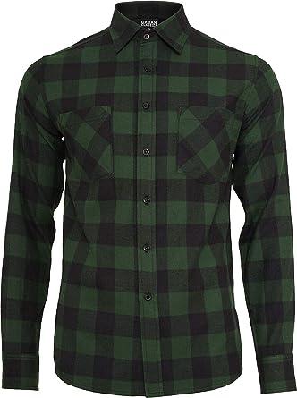 Urban Classics Camisa de Franela a Cuadros Hombre Camisa de Franela Negro/Verde Oscuro, Regular: Amazon.es: Ropa y accesorios