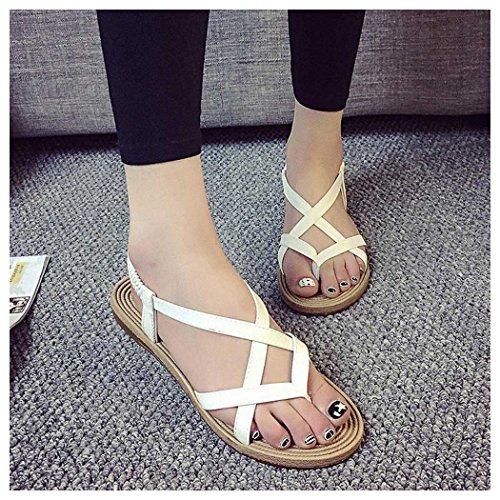 Sandales Dété, Inkach Femmes Chaussures Plates Bohème Bandage Loisirs Lady Sandales Chaussures Dextérieur Blanc