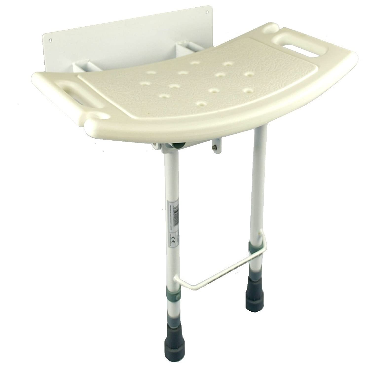 Folding Wall Mounted Shower Seat with Adjustable Legs and shower