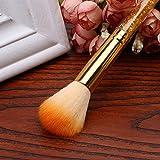 cqp hair brush - RedSonics(TM) 1pcs Cosmetic Blush Powder Brush Makeup Tool Soft Nail Art Dust Remover Brush Cleaner Acrylic UV Gel Rhinestones Makeup Brushes[Gold]