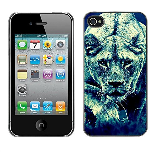 TopCaseStore / caoutchouc Hard Case Housse de protection la Peau - Lion Feline Hunting Savannah Big Cat Photo - Apple iPhone 4 / 4S