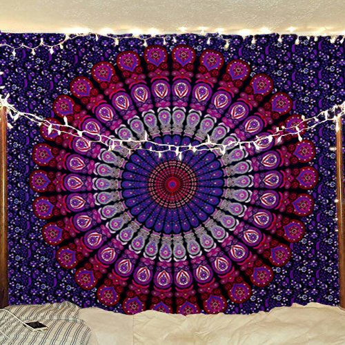 Bless International Indian Hippie Bohemian Psychedelic Peacock Mandala Wall Hanging Bedding Tapestry (Purple Pink, Queen(84x90Inches)(215x230Cms))