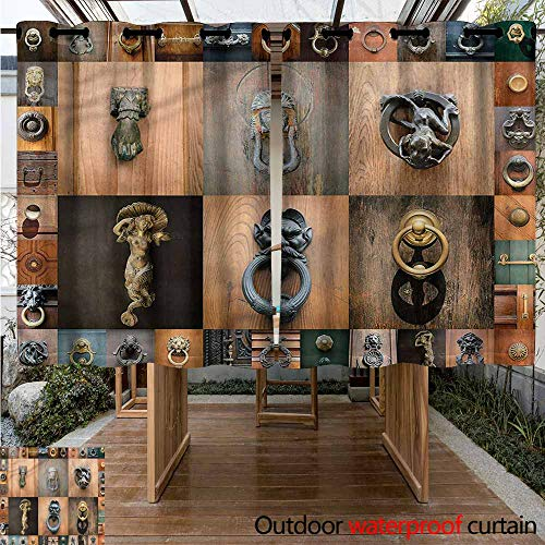 """Sunnyhome Doorway Curtain Antique Medieval Old Door Knobs Insulated with Grommet Curtains for Bedroom W 63"""" XL 72"""""""