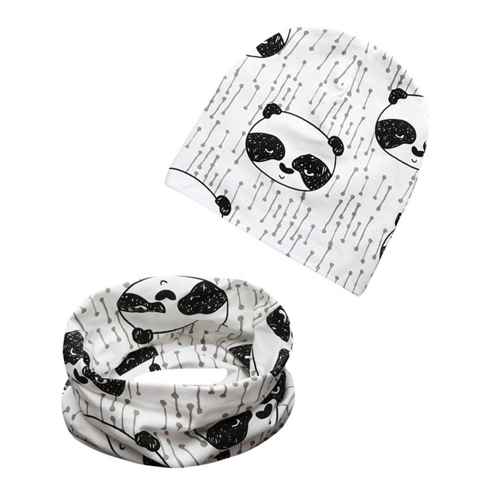 Autumn Winter Cotton Hat and Scarf Sets Warmer Cap Neck Scarf for Baby Kids