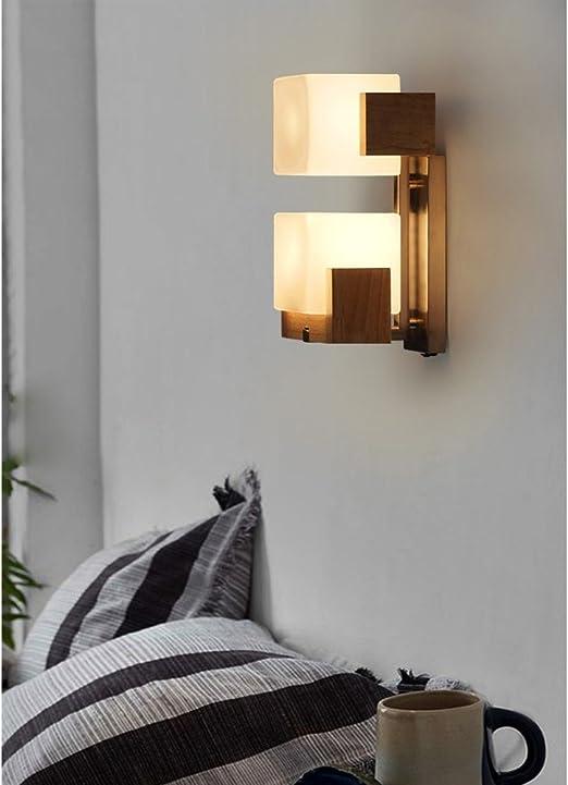 E27 Lámpara de pared moderno habitaciones Deco diseño creativo cristal iluminación interior para dormitorio comedor Salón Cocina Aisle Piso Pasillo Escaleras cama lado L17 * H34 cm 2 llama: Amazon.es: Iluminación