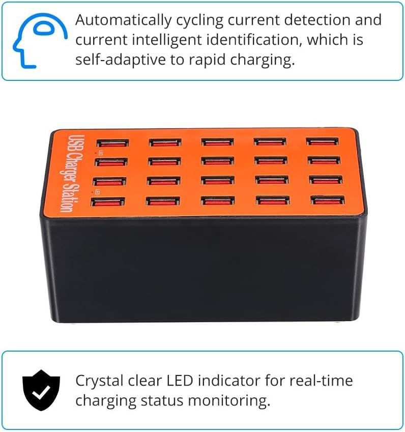 f/ür SamsungP1000 f/ür Tablet Centralized Ladestation Docooler 100W 20-Port USB Ladeger/ät Adapter Smart Ladestation mit Auto erkennen Tech und Faltbare Stecker f/ür iPhone 7S f/ür iPad PDA 5S 6S