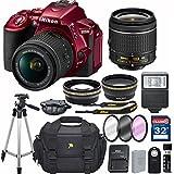 Nikon D5500 (Red) DX-format Digital SLR w/AF-P DX NIKKOR 18-55mm f/3.5-5.6G VR + 32GB Memory Accessory Bundle