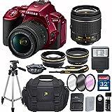 Nikon D5500 (Red) DX-format Digital SLR w/ AF-P DX NIKKOR 18-55mm f/3.5-5.6G VR + 32GB Memory Accessory Bundle