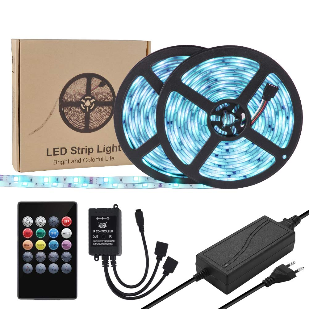 Weksi LED Music Strip Light, Light Strip Music Sync Waterproof LED Tape Lights 300LEDs Lightstrip 32.8ft 10m Color Changing RGB Sound-Activated Sensor Light Strip with Remote Connector