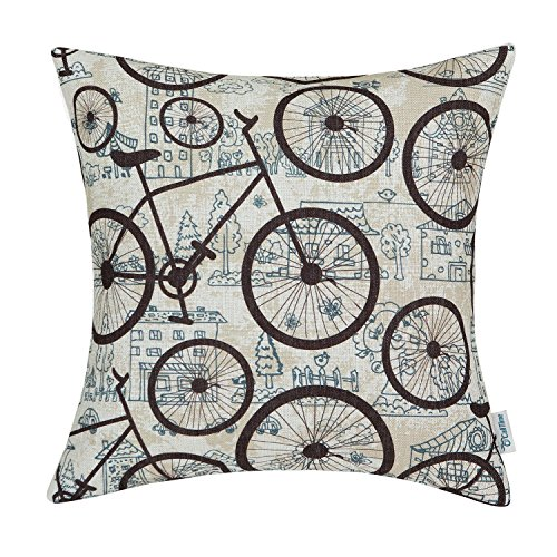 CaliTime Canvas Throw Pillow Cover Shell for Couch Sofa Home Decoration City Buildings Brown Bicycles Wheels 18 X 18 Inches (Bike Throw Pillow)