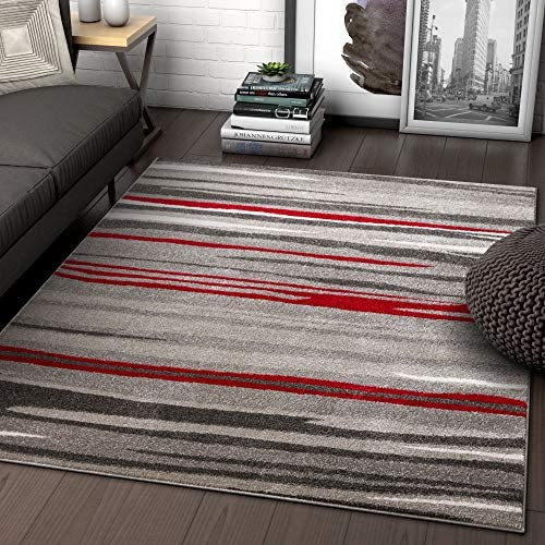 Well Woven Rocoso Stripes Red Geometric Modern Abstract Lines Area Rug 5×7 5 3 x 7 3 Carpet