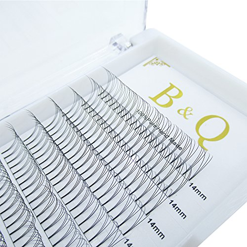 Premade Volume Fans Eyelash Extensions 12 Rows/Tray Short Stem Russian Volumes Lashes Extensions Fans Individual Cluster Eyelash Extensions (3D-D curl-0.07, 14mm)
