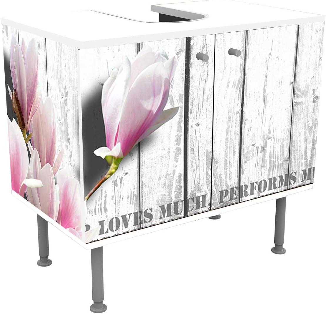 wandmotiv24 Mueble de baño Madera - Flores de Color Rosa Pegado Frontal y Lateral Lavabo, Mueble Lavabo M0540: Amazon.es: Hogar