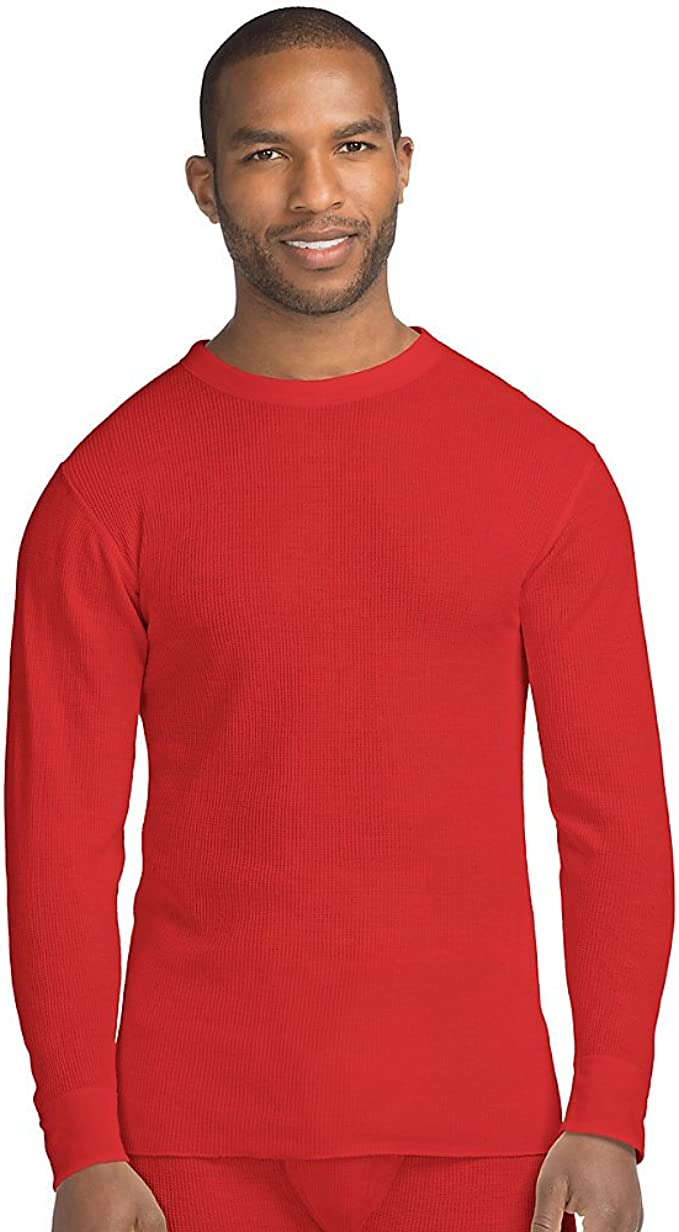 Hanes Thermal Crewneck Beefy Men/'s Organic Cotton waffle knit Tag-free Warm
