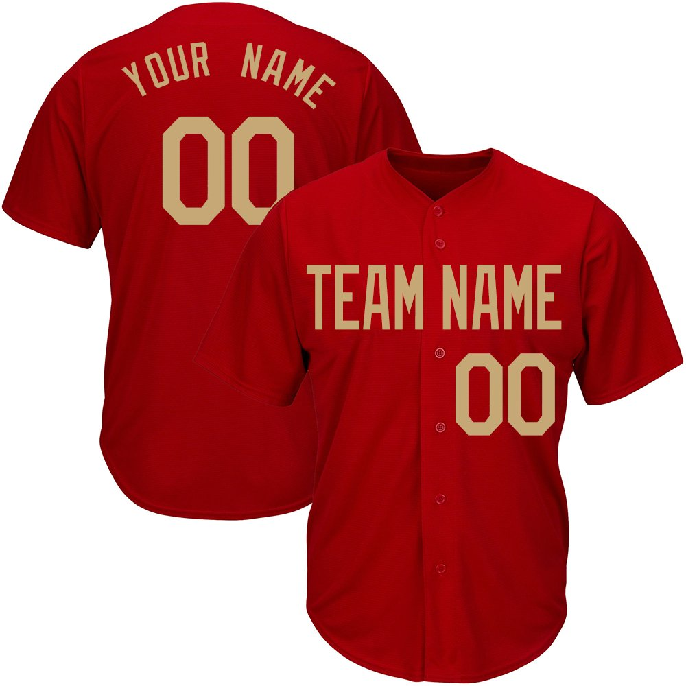 Custom Youth Red Mesh Baseball Jerseys with Embroidered Team Name Player Name and Numbers,Gold Size L by DEHUI