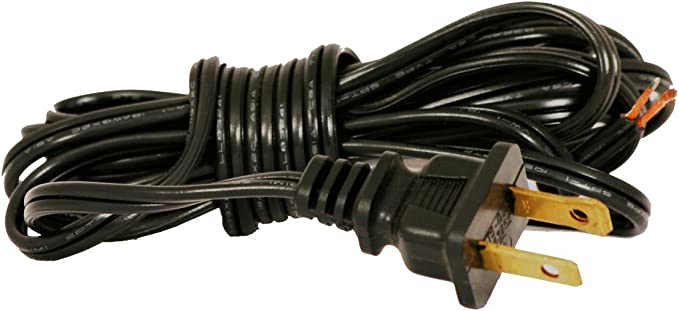 Royal Designs Lamp Cord With Molded Plug Stripped Ends Ready For Wiring 12 Ft Long Black Spt 1 Ul Listed