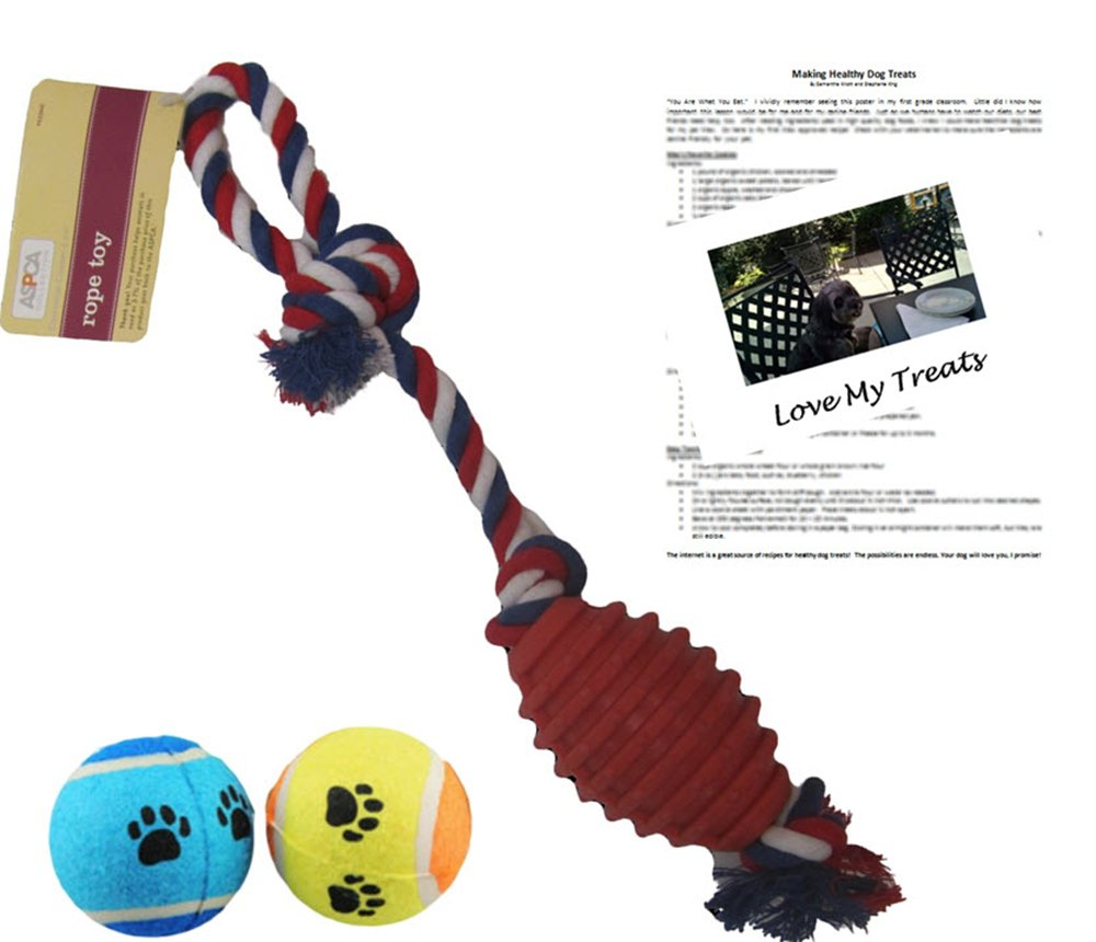 Dog ASPCA 20'' Rope Tug Toy, 2 Tennis Balls, and Max's Healthy Treat Recipes