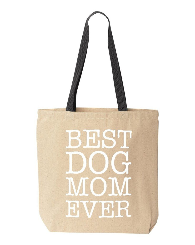 Shop4Ever Best Dog Mom Ever Cotton Canvas Tote Animal Lover Reusable Shopping Bag 10 oz Natural - Black -Pack of 1- Colored Handle