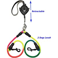 Double Dual Dog Leashes Retractable 4.6ft, Slip Doggy Lead Dog Leash for 2 or 1 Dogs, No Lock Mini Dog Leash for Small Medium Large Dogs, Dual Reflective Belt Dog Traction Rope with Soft Hand Grip
