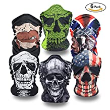 Skull Mask 6 Set Magic Multifunctional Face Masks Tube Bandana For Riding Hiking Outdoor Sports